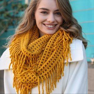 Mustard Lattice Knit Fringed Infinity Scarf
